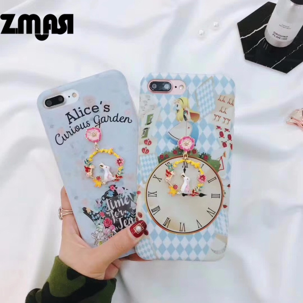 zmasi alice garden cell case for iphone x 7 8 rabbit pendant matte soft phone bag for iphone 6. Black Bedroom Furniture Sets. Home Design Ideas