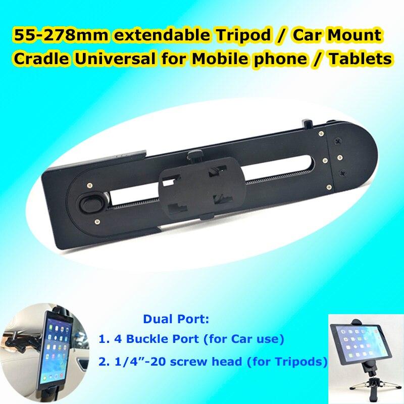"1/4 ""kopf 4 Schnalle Slot Dual Verbindung Universal Tablet Pc Handy Stativ Fahrrad Auto Kopfstütze Halter Clip Halterung Cradle"