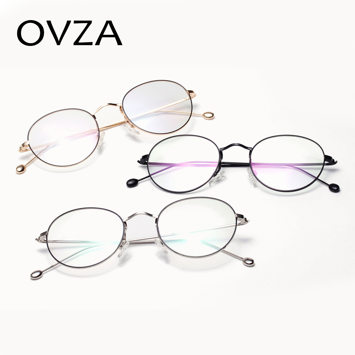 1278c7335b9 OVZA Vintage Oval Glasses Frames Women Fashion Metal Optical Frame Mens  Retro Eyeglasses Ultralight Transparent L S1093-in Eyewear Frames from  Men s ...