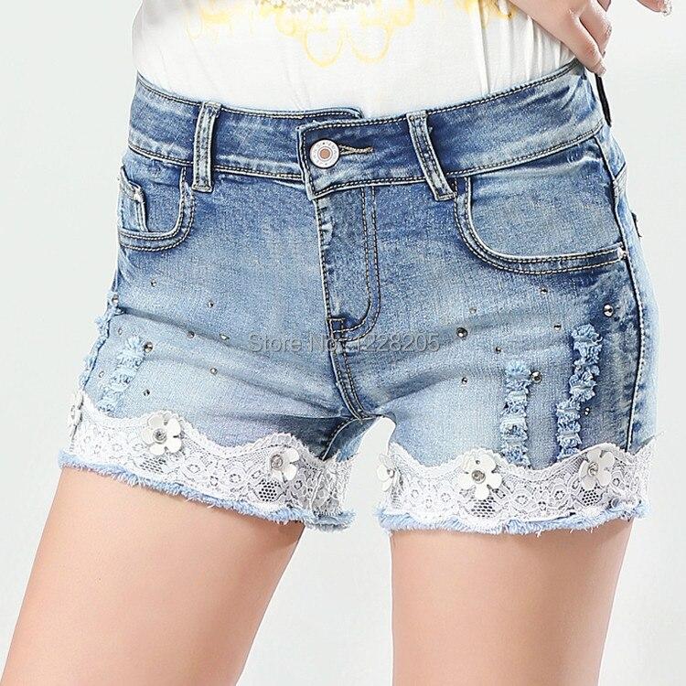 Online Shop Slim women short jeans lace crochet denim women shorts ...