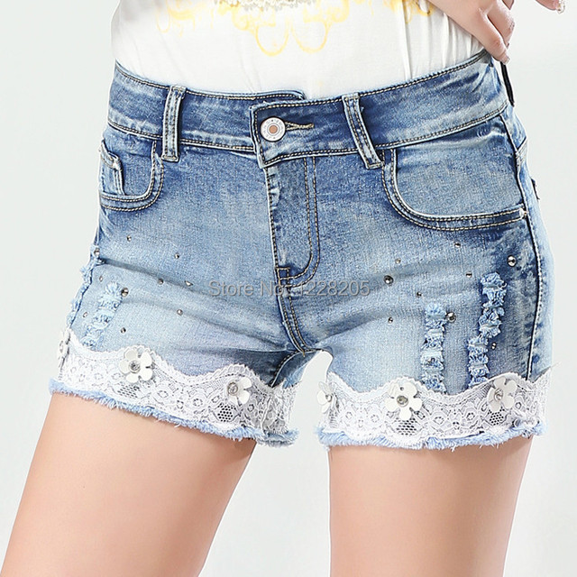 Aliexpress.com : Buy Slim women short jeans lace crochet denim ...