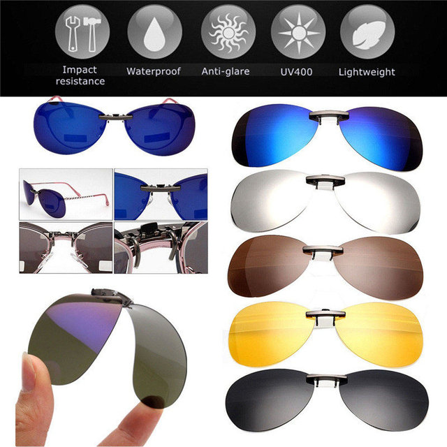 f08ba7d6cf0 High quality Unisex Polarized Clip On Sunglasses Driving Night Vision Lens  Anti-UVA Anti-