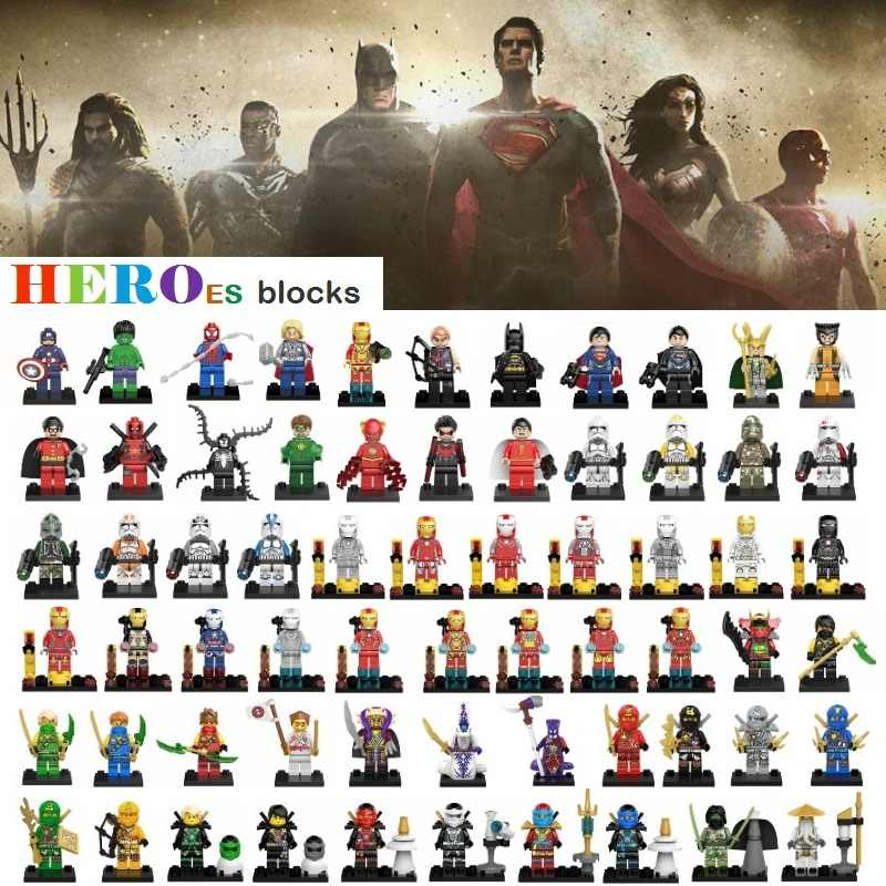 1pc Star Wars superhéroes bloques de construcción Batman Thor Superman Hulk araña Iron Wonder figuras ladrillo juguete chico regalo