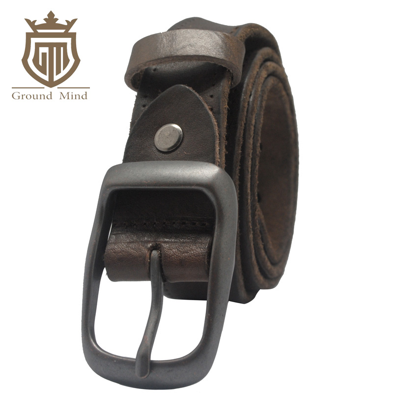 100% Full Grain Leather Belts for Men Vintage Designer Belt