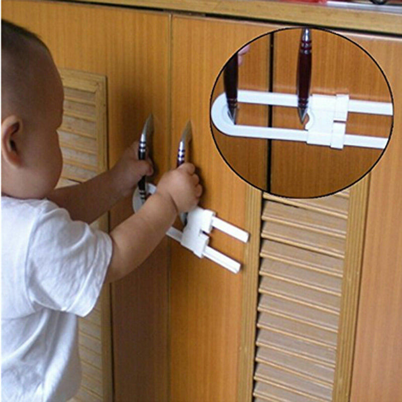 1pc Plastic Baby Safety Lock U-Shaped Cabinet Latches Kids Toddler Safe Closet Kitchen Door Locks