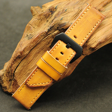 Onthelevel Vintage Watch Band 22mm 24mm 26mm Leather Strap Handmade Watchband Oblique Tail With Brush Buckle #E
