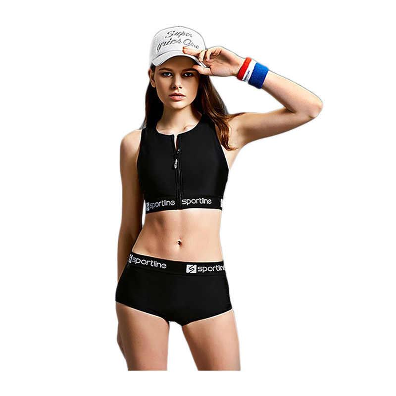 489d8c9c1676c Detail Feedback Questions about Women Sports Bra Yoga Tankini High Waisted  Bandage Shorts Swimsuit 2019 Beach Female Bikini Swimwear Zippers Bathing  Suits ...