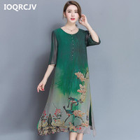 M 4XL Plus Size Spring Summer Silk Dress Chinese Style Dress High Quality Loose Print Party Women's Mid Calf Dress Female L155