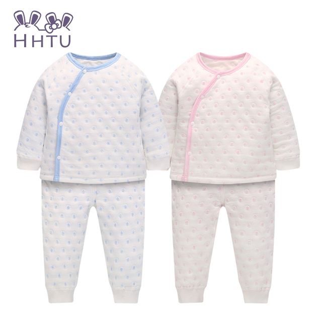 HHTU New Baby Boys Girls Pajamas Children funny Kid Thick Warm Suit Kids Winter Long Sleeved Coat Pants kids clothes set