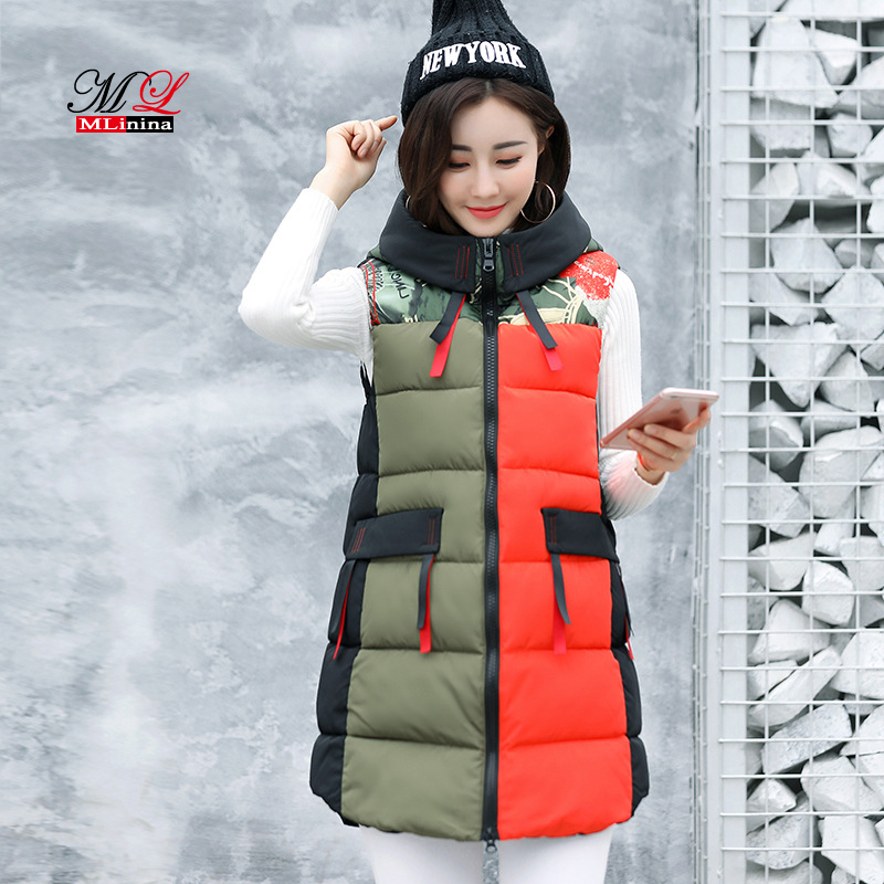 MLinina Long Vest Women Plus Size 2018 Winter Cotton Black Waistcoat Loose Female Windproof Warm Thick Vest Sleeveless Jacket