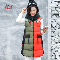 MLinina Long Vest Women Plus Size 2019 Winter Cotton Black Waistcoat Loose Female Windproof Warm Thick Vest Sleeveless Jacket