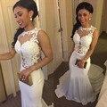Largo atractivo Vestido de Fiesta 2016 de La Gasa con Apliques de Encaje Sirena Vestido de Fiesta 2016 Vestido de Noche vestido de festa Longo