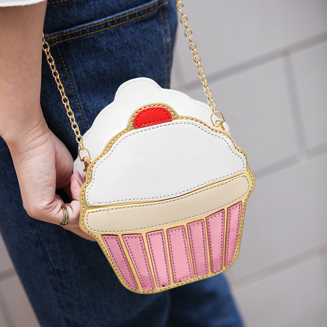 Lucu Kartun Tas Wanita Cupcake Es Krim Bentuk Wanita Mini Tas Bahu Rantai  Logam Kunci Ponsel 895012731a