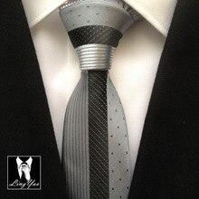 Классический дизайн роскошный панельный галстук модный мужской тонкий лоскутный галстук в полоску с сетками в горошек Узкие галстуки