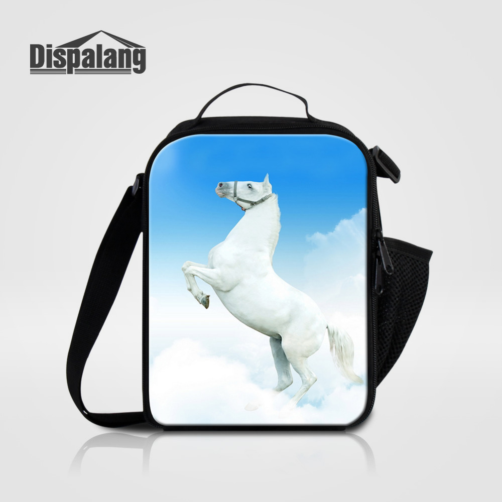 Dispalang Horse Print Thermal Insulated Kids Lunch Bag Animal Shoulder Picnic Food Bag Student Cooler Bag Lunch Storage Box Tote
