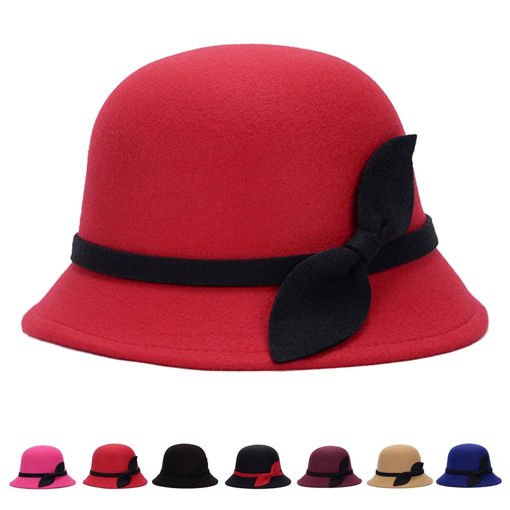 1602d586479 2017 New Autumn Winter Noble European American Elegant Girls Fashion Cap  Ladies Bucket Hat Women Wool Fedora Hat with Leaf