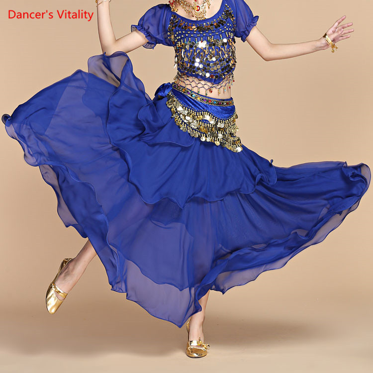 Belly Dance Long Skirt Belly Dance Skirt  Belly Dance Stage Performance Skirt Female Three-Layer Chiffon Dress Practice Skirt
