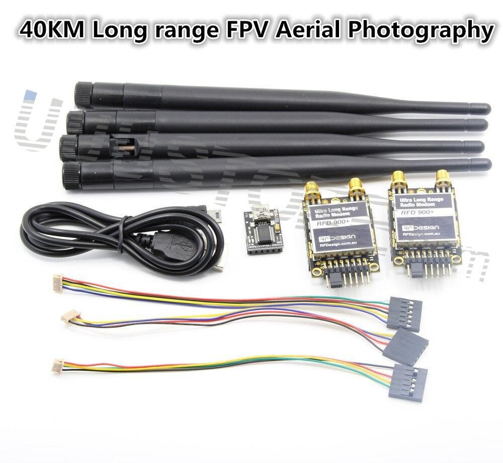 2 pièces RFD 900 MHz Ultra 40 KM Longue Portée Radio Télémesure Modem avec FTDI et Antenne pour APM PIX Contrôleur De Vol Photographie