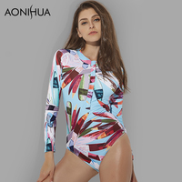 AONIHUA 2018 Sexy Front zipper One Piece Swimsuit Women High quality Push up Long sleeve Swimwear female Surfing swimming suit