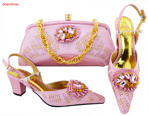 doershow Women Shoes And Bag Set With Rhinestones Pumps Italian Shoes With Matching Bags For Evening Party 2018 style !SVP1-18 african women shoes and bag set with rhinestones top quality italian shoes with matching bags for party doershow lulu1 3