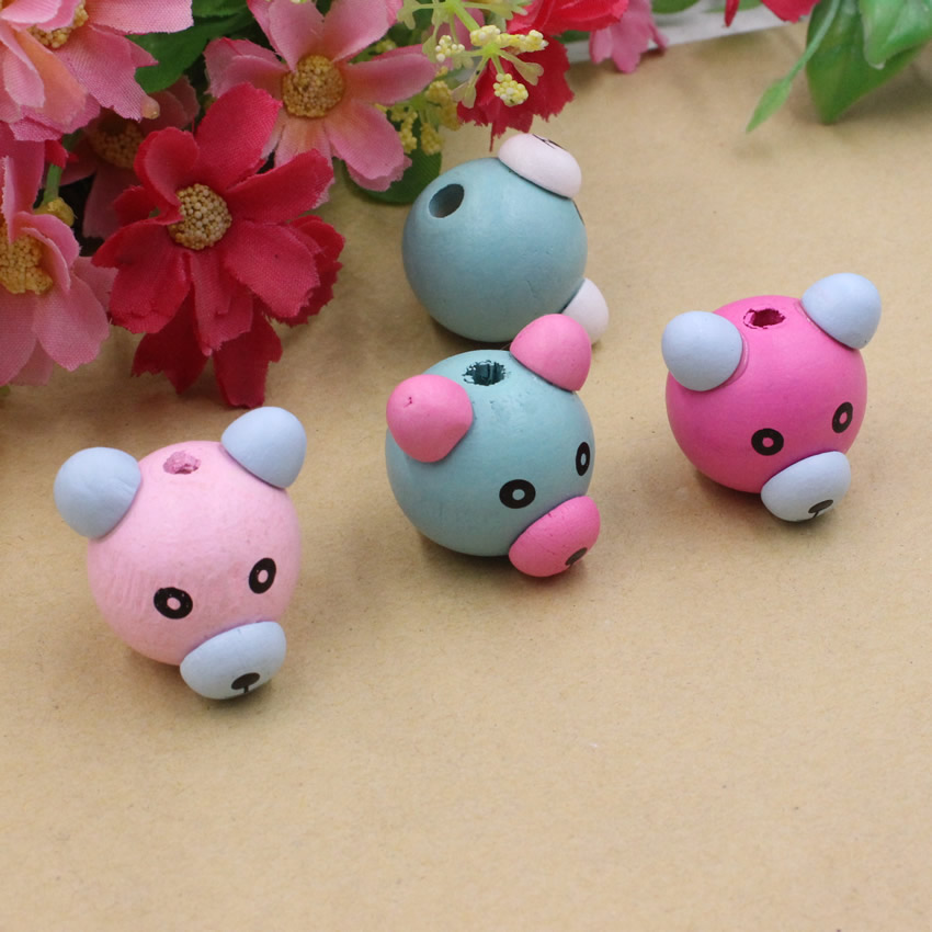 Bear Wooden Beads Baby Pacifier Clip Spacer Bead Beading Accessories Wood Beads