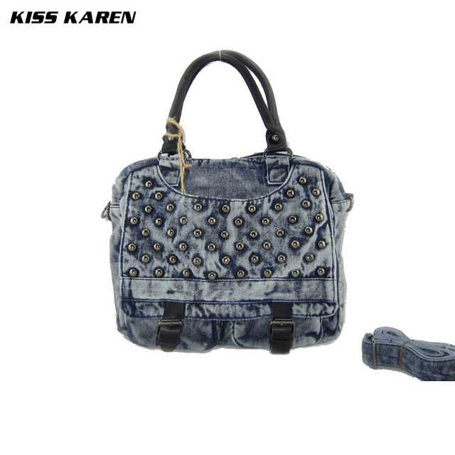 KISS KAREN Rivets Design Vintage Fashion Denim Women Bag Lady Handbags Women's Shoulder Bags Jeans Women Messenger Bags Satchels