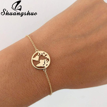 Shuangshuo Chain Link World Map Bracelets & Bangles Jewe
