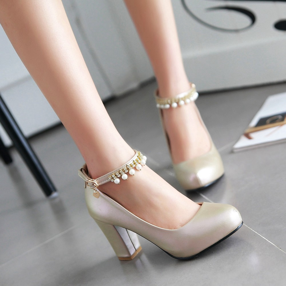 2017 Chunky High Heeled Pink Bridal Wedding Shoes Beaded White Female Buckle Elegant Pumps Silver Gold38