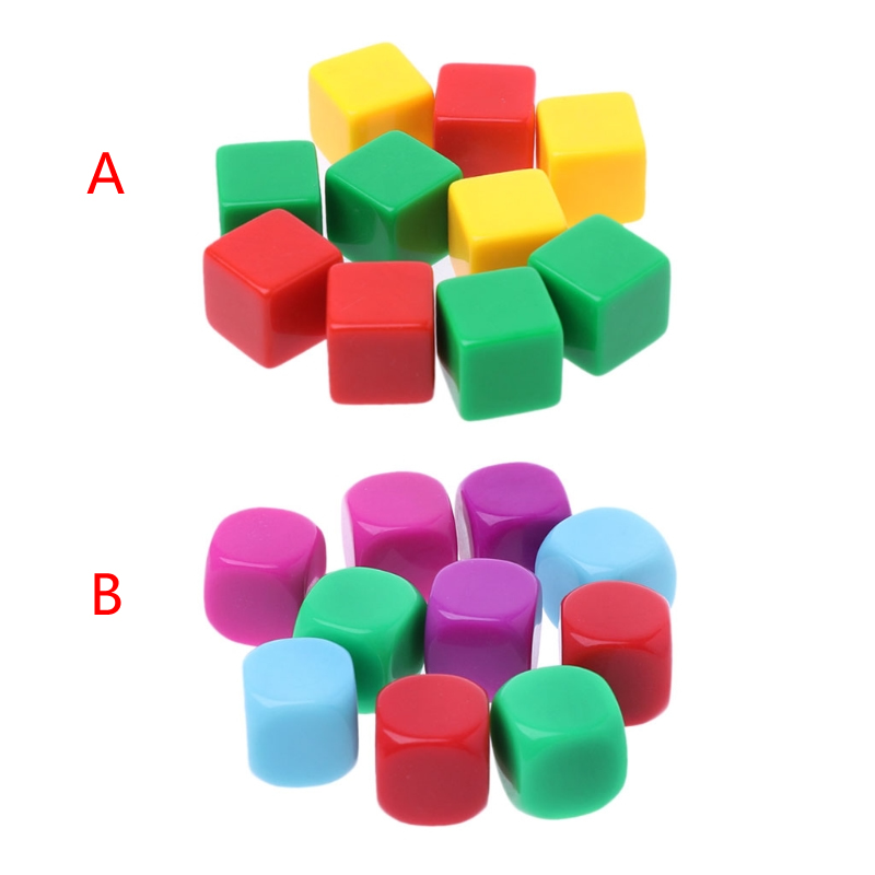 10pcs 16mm Blank Dice Acrylic Hexahedron Dice DIY Write Painting GameTeaching Dices Color Random Delivery