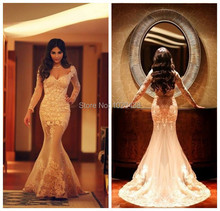 robe de soiree 2015 long sleeve Mermaid Evening Dress Vintage V-Neck Appliques Prom Dresses Custom vestido de festa  longo robe de soiree new plunging v neck appliques evening dress champagne prom gowns pageant dresses vestido de noiva