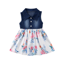 9b08293a00 Toddler Kid Baby Girls Clothes Sleeveless Tutu Dress Kids Party Denim  Flower Patchwork Tulle Dresses Casual