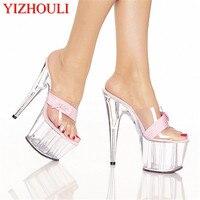 Şeffaf moda sandalet yaz aylarında giymek yüksek topuklu, seksi 15 cm cam terlik, bu yeni bir türüdür yüksek topuklu