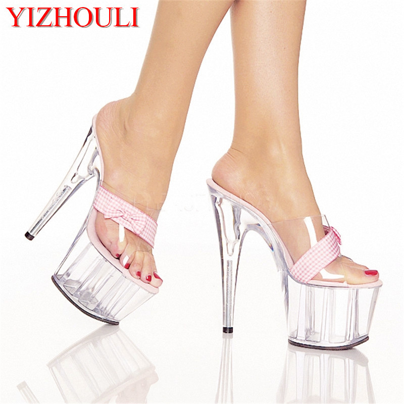 Transparent fashion sandals in the summer wear high heels, sexy 15 cm glass slippers, this is a new type of high heels qiu dong season with plush slippers female students in the summer of 2017 the new han edition joker fashion wears outside a word