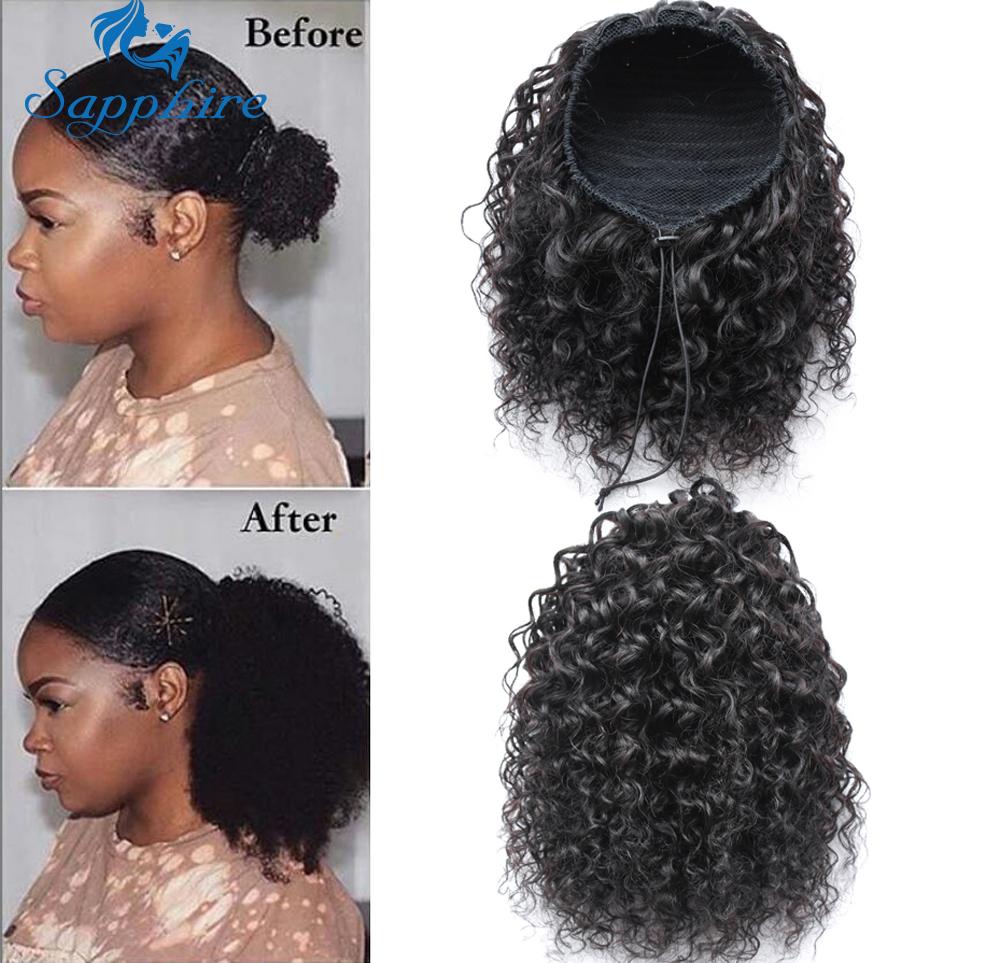 Sapphire Curly Drawstring Ponytails Extensions Mongolian Afro Kinky Curly Hair Clip In Human Hair Extensions Ponytail