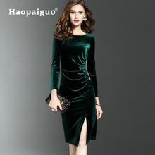XXXL Plus Size Thick Warm Black Velvet Dress Women O-neck Long Sleeve Winter Sheath Bodycon Vintage Dresses Ladies