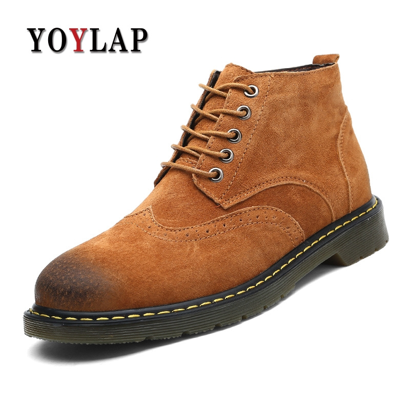 Buty Meskie 2018 Genuine Pigskin Leather Shoes Men Boots High Top Men Casual Shoes Lace-Up Brown Black Men Shoes Plus Size 38-47