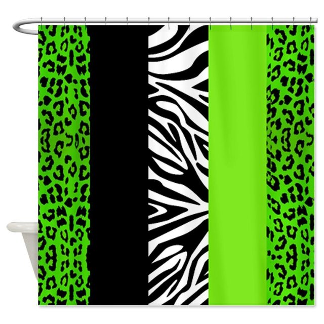 Lime Green Animal Print Stripes Zebra Leopard Decorative Fabric Shower Curtain For The Bathroom With 12 Hooks