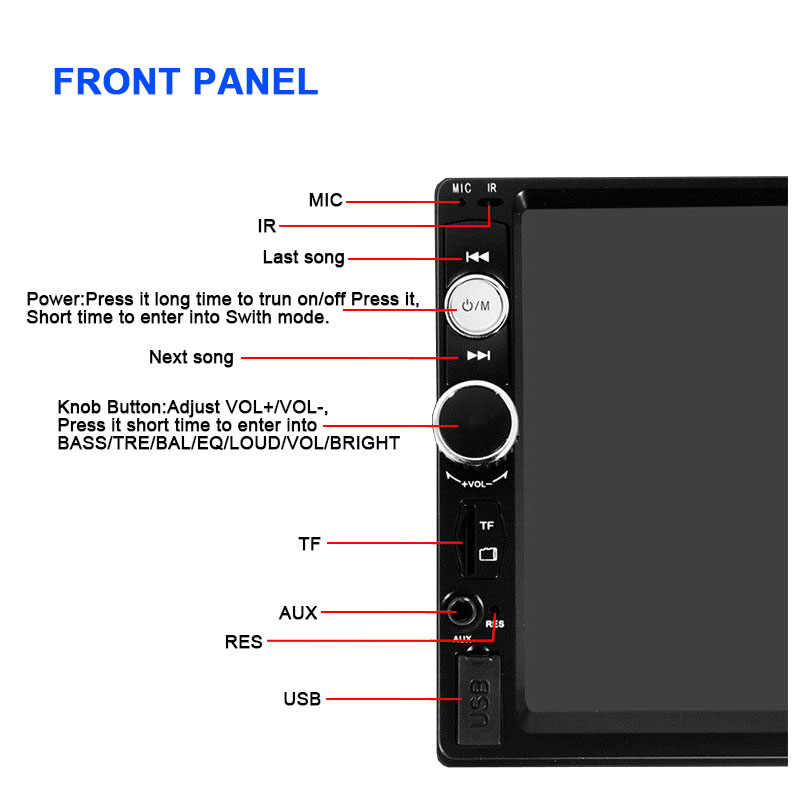 เครื่องเสียงรถยนต์ 2 DIN 7 นิ้วกระจก Link MP4 MP5 เครื่องเล่นวิทยุ FM/TF/AUX/USB วิดีโอบลูทูธอัตโนมัติวิทยุ HD Touch Screen
