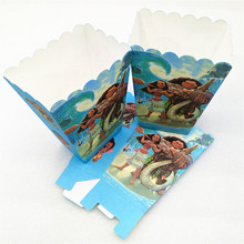 6pcs/set Moana Party Supplies Paper Popcorn Boxes Candy Gift Box Bags Baby Shower Kids Birthday Party Decoration Favors