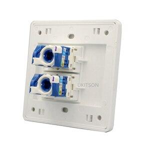 Image 3 - Dubbele Poorten Netwerk Panel CAT6 RJ45 Faceplate Draaien Draad Aansluiting Voor 1000 Mbps Internet Laptop Plug