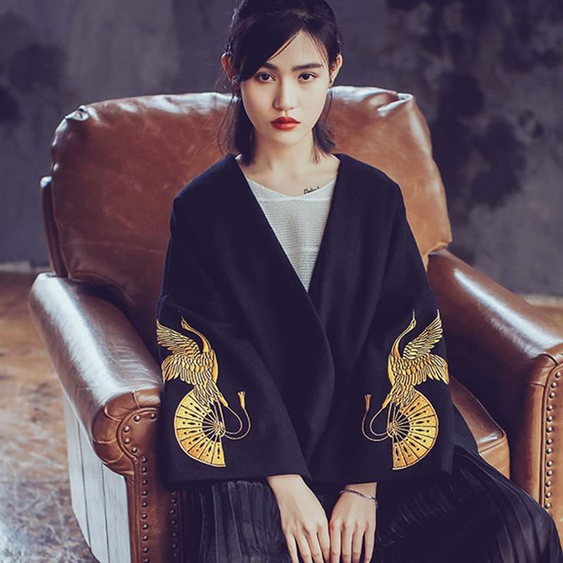 2016 printemps automne nouveauté Design Original japonais doré grue pliant ventilateur broderie Kimono vêtements d'extérieur W/h ceinture