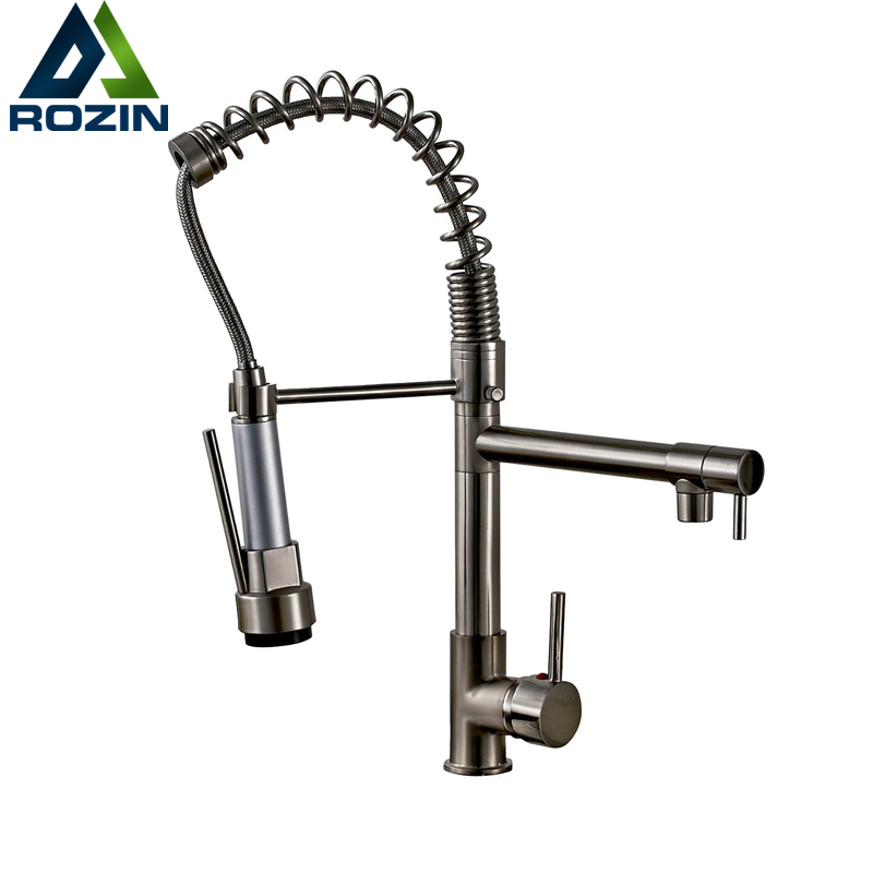 Deck Mounted Hot and Cold Water Kitchen Faucet Nickel Brushed Spring Pull Down Dual Spray Spout Kitchen Mixer Tap