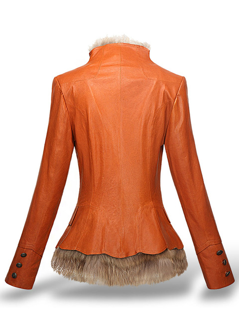 LXUNYI Winter Womens Leather Coat With Button Faux Fur jacket Fashion Short Slim Warm Faux leather jackets Women Orange Coffee 3