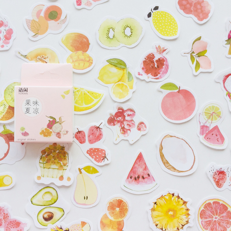 1 Box Summer Style Fresh Fruits DIY Adhesive Stickers Decorative Scrapbooking Diary Album Stick Label