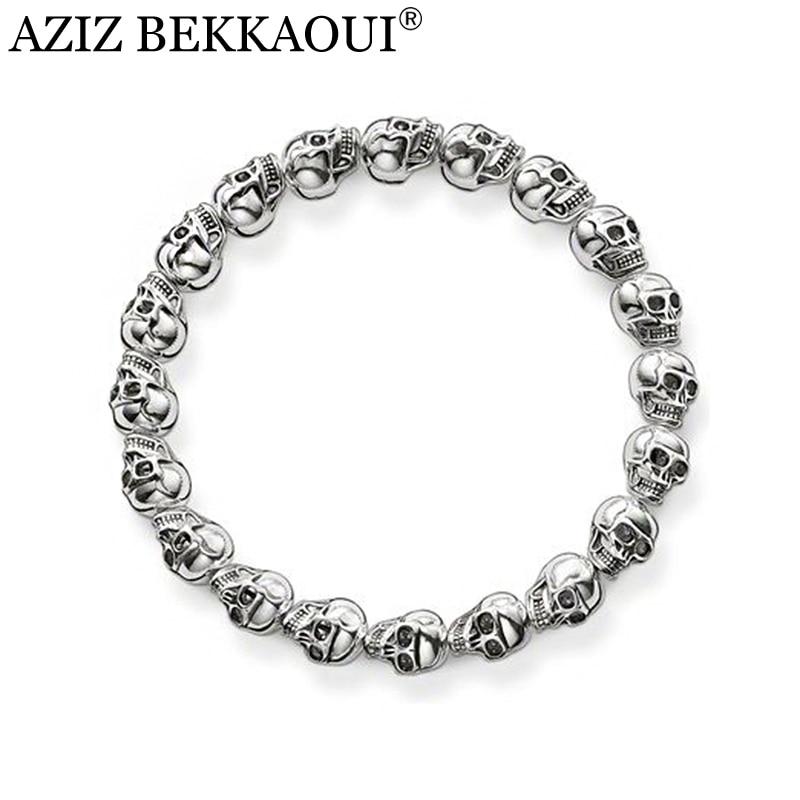 AZIZ BEKKAOUI Vintage Silver Skull Head Beads Bracelet Cool Men Jewelry Punk Rock style High Quality Vintage Beaded Bracelet