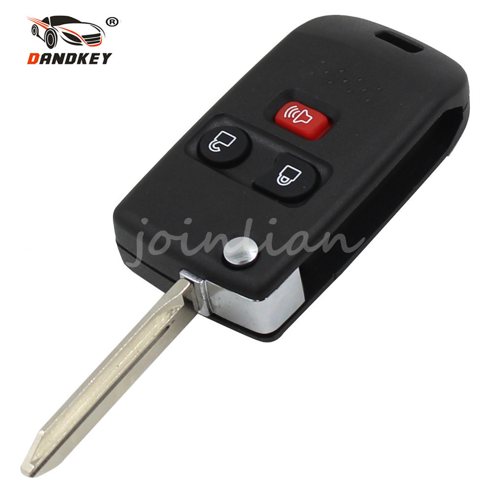 DANDKEY Folding Car Remote Flip Key Shell Fob For 2001-2011 Ford Mercury Mazda 3 Buttons Switchblade Modify Case Cover