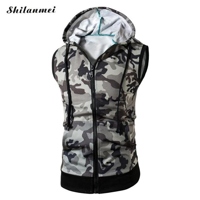 ed16e5fff5f1da Men Hooded Vest White green camouflage Tank Tops colete masculino sleeveless  Coat punk fitness Waistcoat plus size xl xxl 3xl