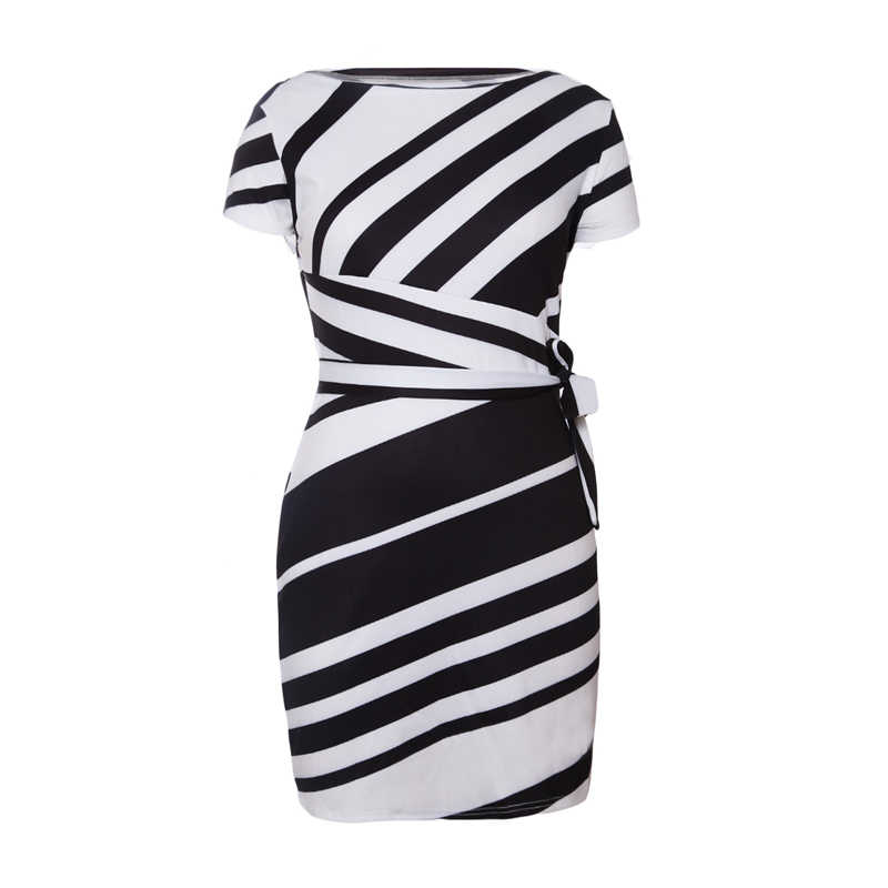 cf9f8696dc3 ... Liva Girl 2019 Spring Casual Pencil Dress Women Party Red Black White  Striped Dresses Belted ...