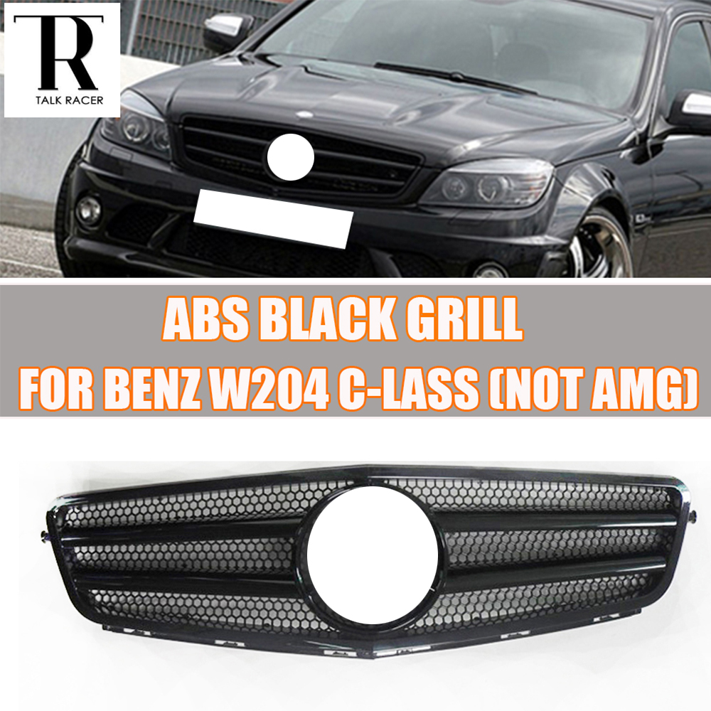 W204 BLACK ABS  Front Bumper Grill Grille for Mercedes Benz W204 C-CLASS C180 C200 C260 C300 ( not for AMG ) 07 - 14 yandex mercedes x156 bumper canards carbon fiber splitter lip for benz gla class x156 with amg package 2015 present