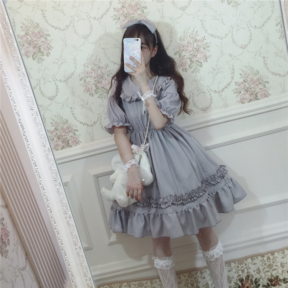 Summer Lolita daily gray low key Palace French style dress original design ruffles